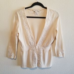 WHBM Silk Cream 3/4 Sleeve Cardigan Sweater Size S